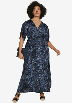Harper Tie-Waist Maxi Dress by ellos®, NAVY FEATHER PRINT, hi-res