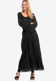 Lace Trim Long Skirt by ellos®, BLACK, hi-res