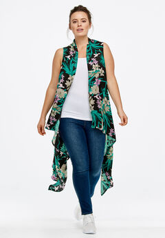 Printed Open Front Duster Vest by ellos®,