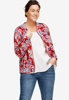 Printed Knit Bomber Jacket by ellos®, RED FLORAL PRINT, hi-res
