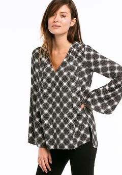 Bell Sleeve Tie Neck Blouse by ellos®,