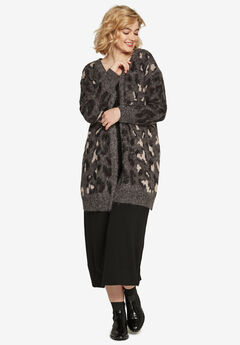 Animal Print Jacquard Cardigan by ellos®,