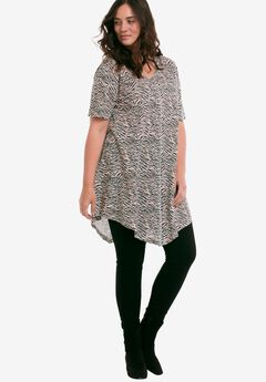 Twisted V-neck Tunic by ellos®, MULTI ANIMAL PRINT, hi-res