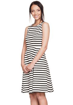 Sleeveless Fit and Flare Dress by ellos®, BLACK WHITE STRIPE, hi-res