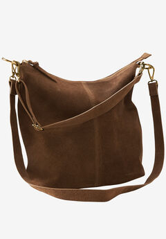 Zip Suede Hobo Handbag by ellos®, PECAN BROWN, hi-res