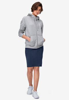 Zip-Front Fleece Hoodie by ellos®, HEATHER GREY