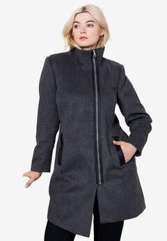 Asymmetrical Zip Wool Blend Coat by ellos®, MEDIUM HEATHER GREY, hi-res