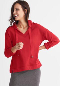 French Terry Ribbon Drawstring Sweatshirt by ellos®,