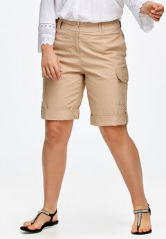 Convertible Cargo Shorts by ellos®, NEW KHAKI, hi-res