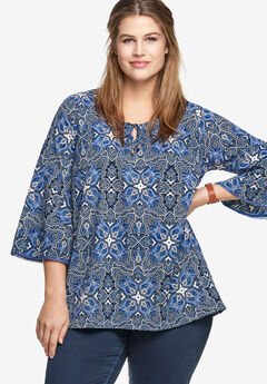 Bell Sleeve A-Line Tunic by ellos®, NAVY WHITE PAISLEY PRINT, hi-res
