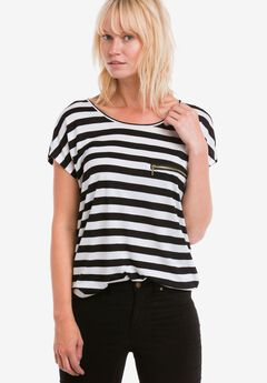 Zip Pocket Knit Tunic by ellos®, BLACK WHITE STRIPE, hi-res