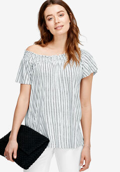 Smocked Neck Tee by ellos®, WHITE BLACK STRIPE, hi-res