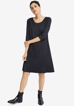 Madison 3/4 Sleeve Dress, BLACK