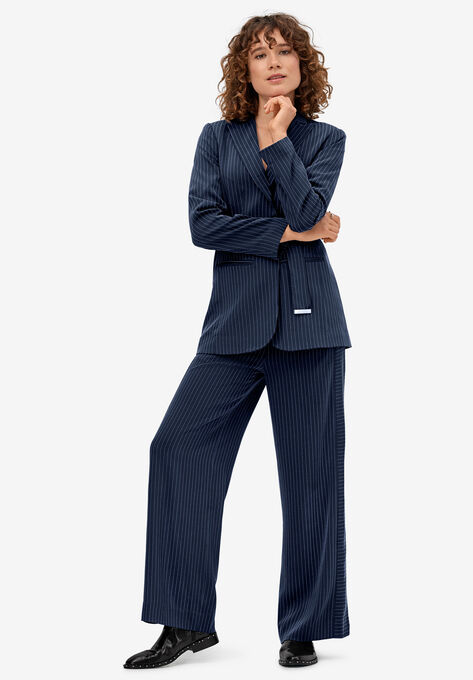 Pinstripe Wide-leg Soft Pants by ellos®