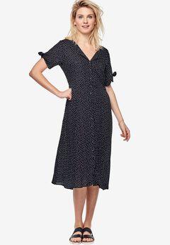 Tie-Sleeve Dress by ellos®, BLACK WHITE DOT, hi-res