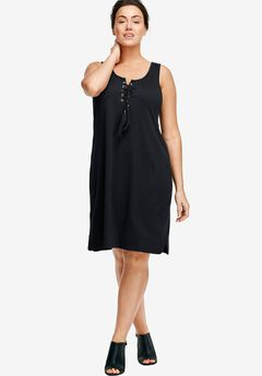 Lace-Up Knit Dress by ellos®,