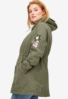 Embroidered Twill Anorak Jacket by ellos®, OLIVE GREEN