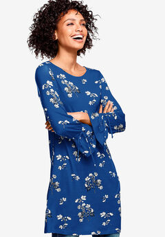 Floral Tie-Sleeve Tunic by ellos®, DARK SAPPHIRE FLORAL