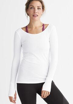 Long Sleeve Rib Tunic by ellos®, WHITE, hi-res