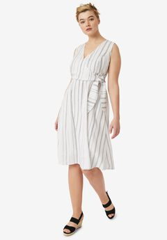 Striped Linen Faux-Wrap Dress,
