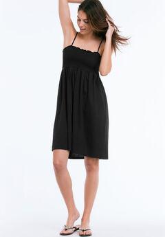 Smocked Bodice Tank Dress by ellos®, BLACK