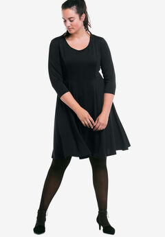 Fit-and-Flare Knit Dress by ellos®, BLACK, hi-res
