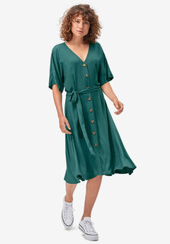 Button-Front Tie-Waist Shirtdress,