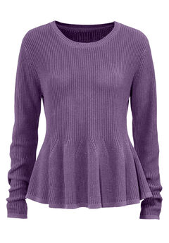 Long Sleeve Peplum Sweater by ellos®, SUGAR GRAPE, hi-res
