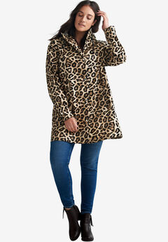 Animal Print Hooded Raincoat,