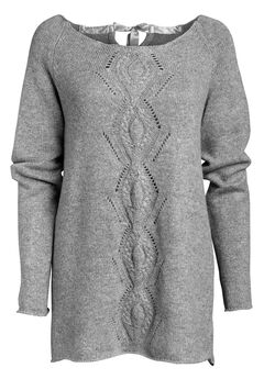 Ballet Neck Cable Front Sweater by ellos®, HEATHER GREY, hi-res