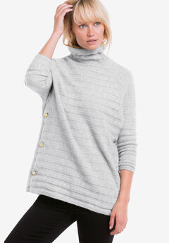 Side Button Turtleneck Sweater by ellos®, HEATHER GREY, hi-res