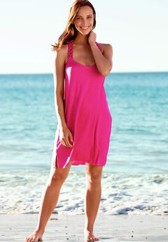 Crochet Racerback Cover-Up Dress by ellos®, PASSION PINK