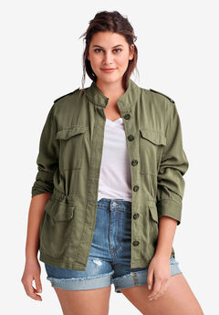 Drapey Military Jacket By Ellos®, DARK OLIVE GREEN, hi-res