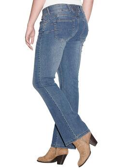 Back Elastic Bootcut Jeans by ellos®, MEDIUM STONEWASH, hi-res