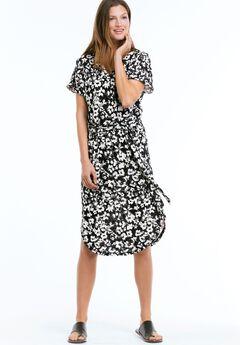 Tie-Waist Knit Dress by ellos®, BLACK WHITE FLORAL, hi-res
