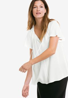 Flutter Sleeve Tunic by ellos®, WHITE, hi-res
