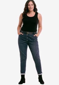 Button Fly Girlfriend Jeans by ellos®, DARK BLUE SANDED