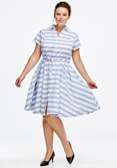 Sandy Shirtwaist Dress by ellos®, WHITE FRENCH BLUE STRIPE, hi-res