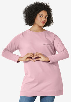Love Tunic Sweatshirt by ellos®, MISTY ROSE, hi-res