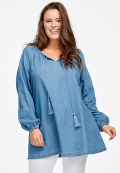 Denim Peasant Tunic by ellos®, LIGHT STONEWASH, hi-res