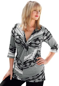 Knot Front 3/4 Sleeve Tunic by ellos®, GREY PRINT, hi-res