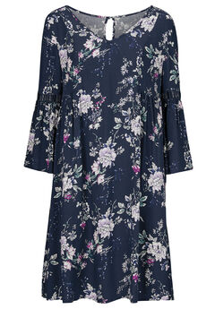 Cut-Out Bell Sleeve Dress by ellos®, NAVY MULTI FLORAL