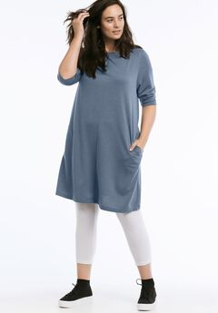 A-line French Terry Dress by ellos®, HEATHER BLUE, hi-res
