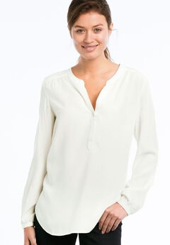 Notch Neck Henley Tunic by ellos®, IVORY, hi-res