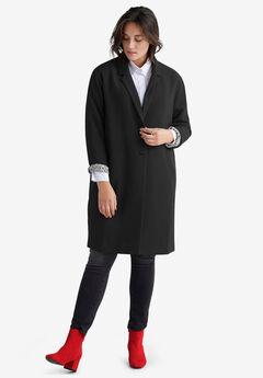 Button-Front Boyfriend Coat by ellos®, BLACK