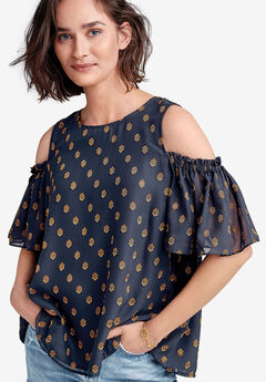 59b6730266a4f4 Cold-Shoulder Sheer Sleeve Blouse by ellos®