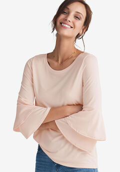 Tiered Bell Sleeve Tee by ellos®, LUSH PEACH, hi-res