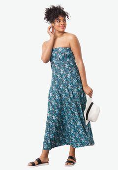 Strapless Beach Dress Cover Up by ellos®, BLACK AQUAMARINE PRINT, hi-res