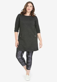 French Terry Zip Pocket Tunic by ellos®, HEATHER CHARCOAL, hi-res