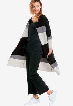 Striped Open Cardigan Sweater by ellos®, BLACK MULTI STRIPE, hi-res